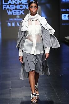Off White Sheer Shirt by Sayantan Sarkar