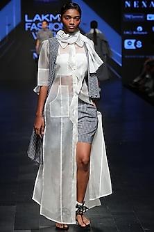Off White Sheer Long Shirt by Sayantan Sarkar