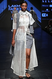 Off White Sheer Long Shirt by Sayantan Sarkar