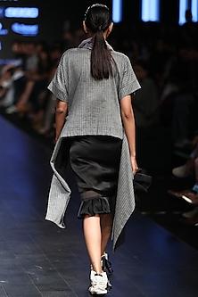 Grey Striped Asymmetric Top by Sayantan Sarkar