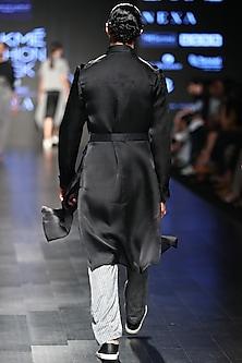 Black Sheer Summer Trench Coat by Sayantan Sarkar Men