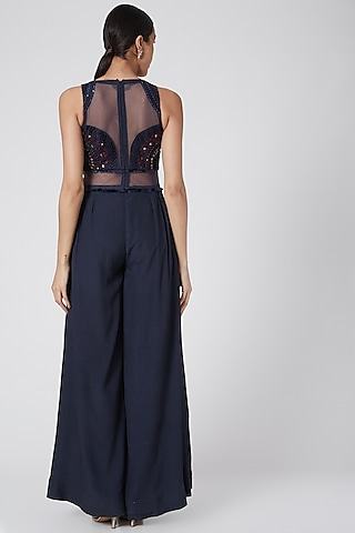 Cobalt Blue Embroidered Jumpsuit by Siyona By Ankurita