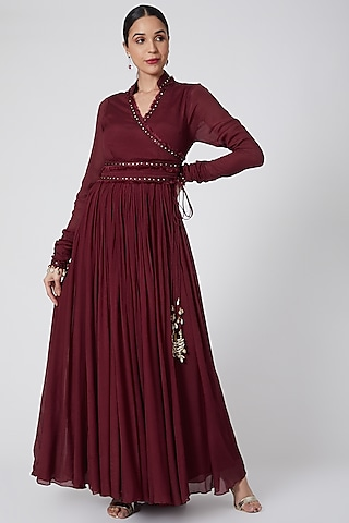 Maroon Embroidered Anarkali by Siyona By Ankurita