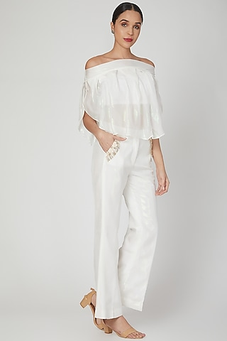 White Off-Shoulder Top With Bustier & Pants  by Siyona By Ankurita