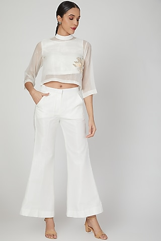 White Embroidered Top With Pants & Inner by Siyona By Ankurita