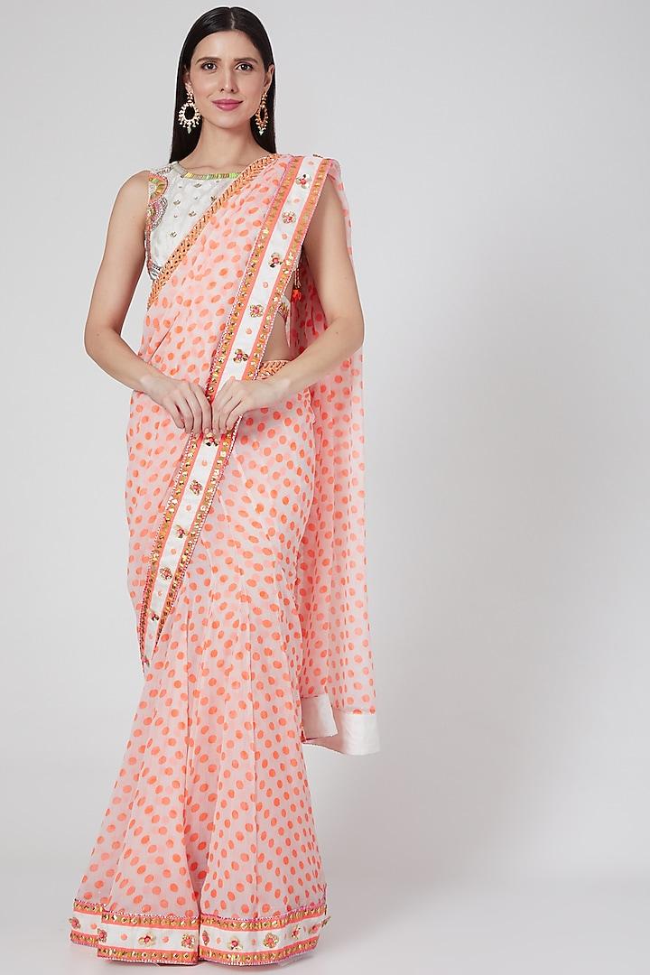 White & Orange Polka Printed Lehenga Saree Set by Saaj By Ankita