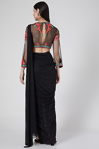Black Pre-Stitched Pant Saree Set With Embroidered Blouse by Saaj By Ankita