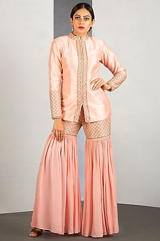 Pink Sharara Set With Pipework by Siyaahi by Poonam & Rohit