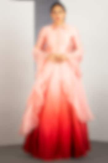 Pastel Pink & Blood Orange OmbreLehenga by Siyaahi by Poonam & Rohit
