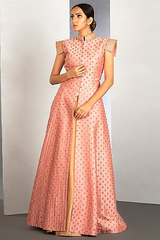 Terracotta Pink Jacket Skirt With Pipework by Siyaahi by Poonam & Rohit