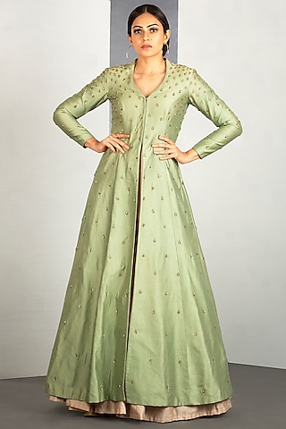 Linden Green Chanderi Silk Jacket Set by Siyaahi by Poonam & Rohit