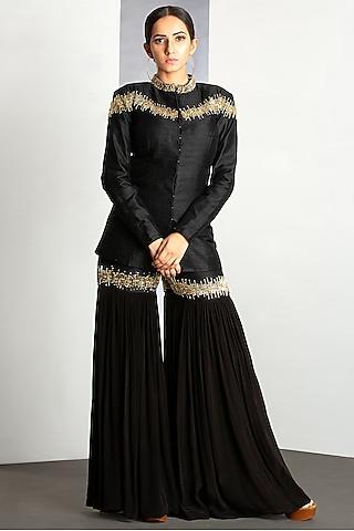 Jet Black Chanderi Silk Sharara Set by Siyaahi by Poonam & Rohit