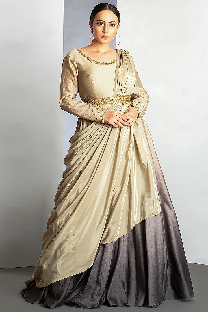 Oyster White & Charcoal Grey OmbreGown by Siyaahi by Poonam & Rohit