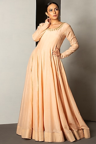 Sepia Beige Embroidered Gown by Siyaahi by Poonam & Rohit
