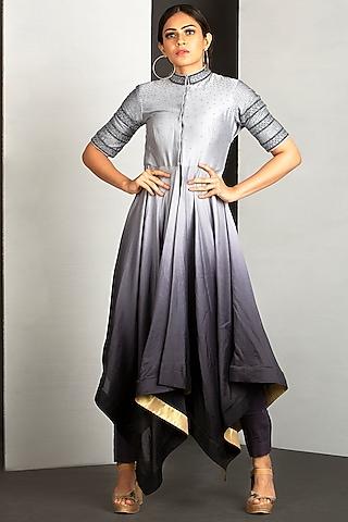 Silver Grey & Shadow Grey OmbreHigh-Low Kurta Set  by Siyaahi by Poonam & Rohit