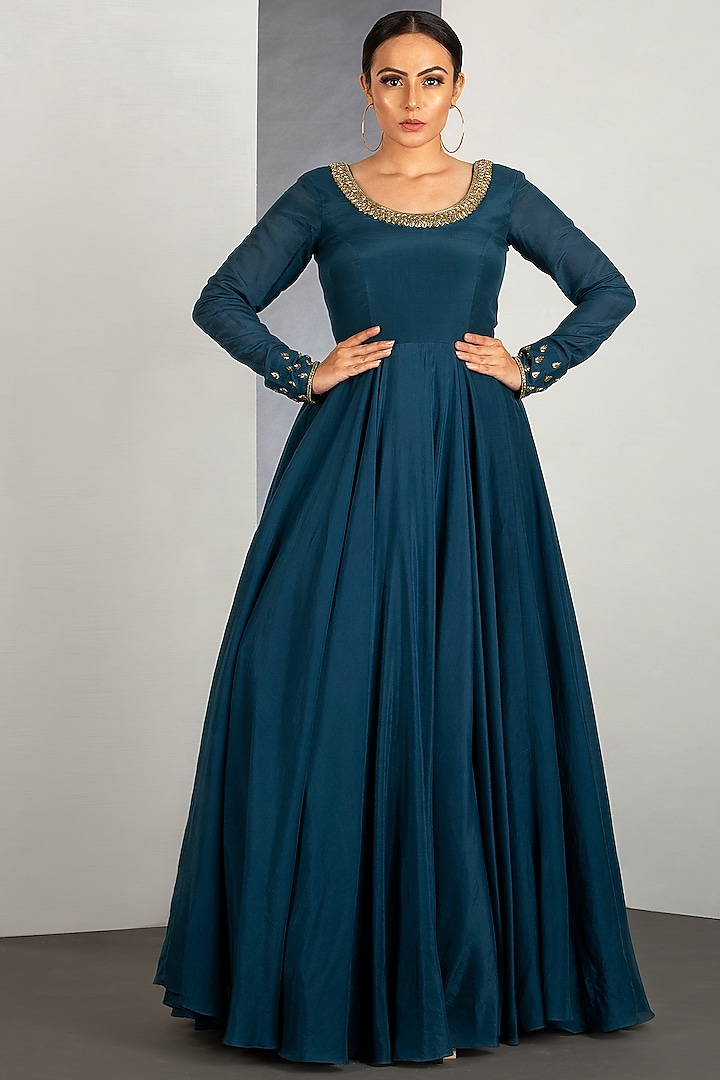 Ocean Blue Flared Gown With Pipework by Siyaahi by Poonam & Rohit