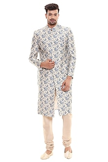 Powder Blue & Beige Printed Jacket Set by Soup by Sougat Paul Men