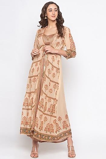 Beige & Orange Embroidered Printed Jacket Set by Soup by Sougat Paul