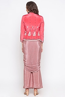Pink Embellished & Printed Jacket With Draped Skirt by Soup by Sougat Paul