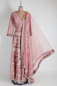 Pink Printed Lehenga Set by Soup by Sougat Paul