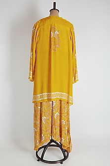 Yellow Printed Layered Jumpsuit by Soup by Sougat Paul