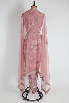 Pink Printed Draped Concept Gown With Dupatta by Soup by Sougat Paul