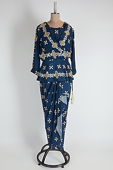 Blue Printed & Embroidered Skirt Set by Soup by Sougat Paul