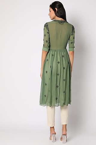 Green Georgette Printed Tunic by Soup by Sougat Paul