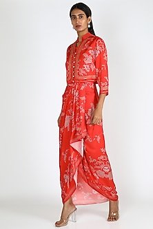 Red Printed Draped Dress With Jacket by Soup By Sougat Paul-POPULAR PRODUCTS AT STORE