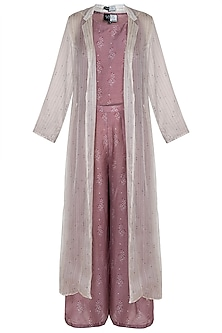 Dusty Rose Floral Printed Crop Top With Flared Pants & Long Jacket by SOUS