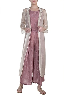 Dusty Rose Floral Printed Crop Top With Flared Pants & Long Jacket by SO US By Sougat Paul