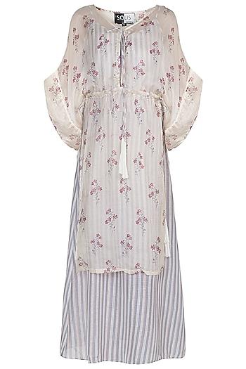 Off White Printed Midi Dress With Kimono Jacket by SOUS