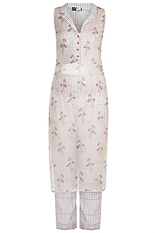 Off White Printed Sheer Kurta With Pants by SOUS