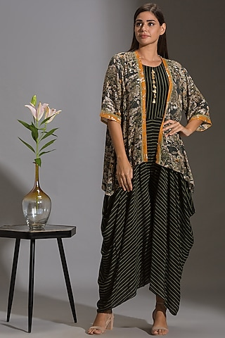 Green & Black Printed Dhoti Jumpsuit by Soup by Sougat Paul