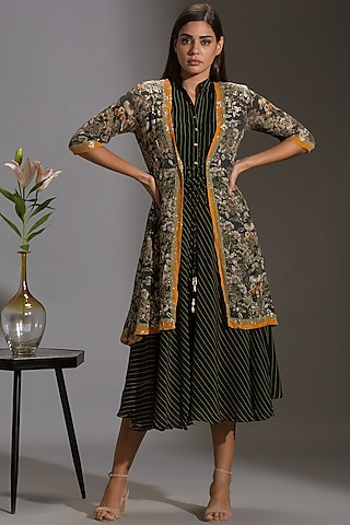 Green & Black Printed Jacket Set by Soup by Sougat Paul