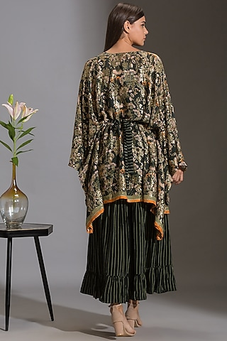 Green & Black Printed Jumpsuit With Cape by Soup by Sougat Paul