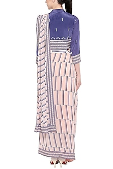 Blue & Pink Embroidered Printed Drape Saree by Soup by Sougat Paul