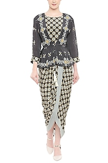 Black Printed Draped Dress With Embellished Jacket by Soup by Sougat Paul