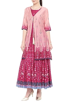 Pink Printed Anarkali With Embroidered Jacket by Soup by Sougat Paul