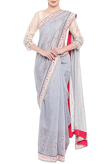 Greyish Blue & Off White Embroidered Printed Saree Set by Soup by Sougat Paul