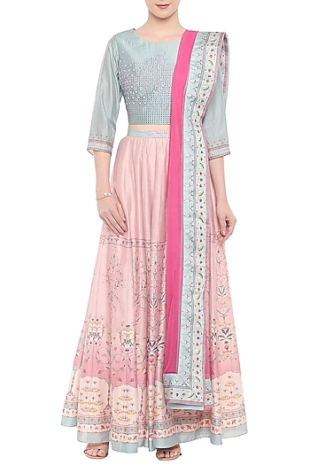 Pink & Blue Embroidered Printed Lehenga Set by Soup by Sougat Paul