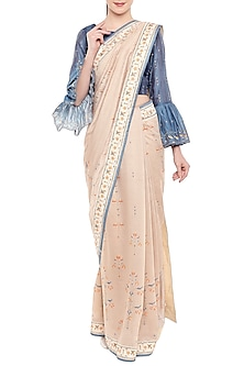 Off White & Blue Printed Embroidered Saree Set by Soup by Sougat Paul