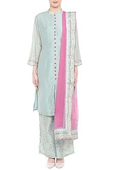 Blue & Pink Embroidered Kurta Set by Soup by Sougat Paul