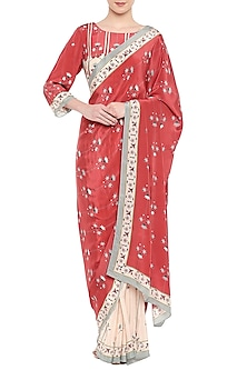 Red & Beige Printed Saree Set by Soup by Sougat Paul