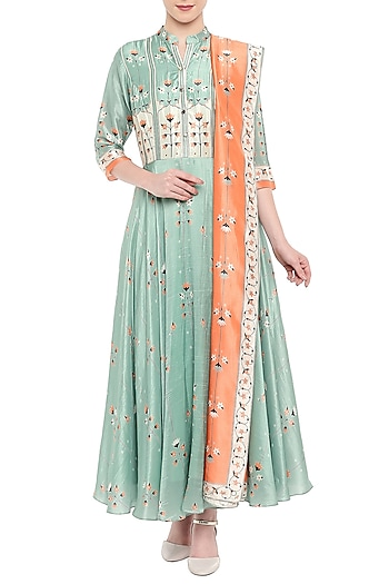 Blue Embroidered Printed Anarkali With Orange Dupatta by Soup by Sougat Paul