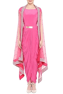 Pink Draped Dress With Embroidered Jacket & Belt by Soup by Sougat Paul