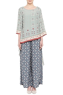 Blue Printed Asymmetrical Top With Palazzo Pants by Soup by Sougat Paul