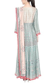 Beige & Blue Printed Anarkali With Dupatta by Soup by Sougat Paul