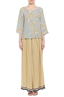 Blush Blue Printed Top With Yellow Palazzo Pants by Soup by Sougat Paul