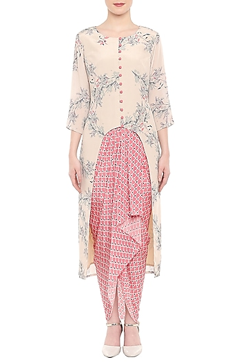 Off White Printed Kurta With Pink Dhoti Skirt by Soup by Sougat Paul